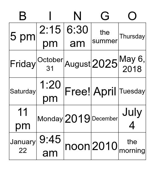 Time Prepositions Bingo Card