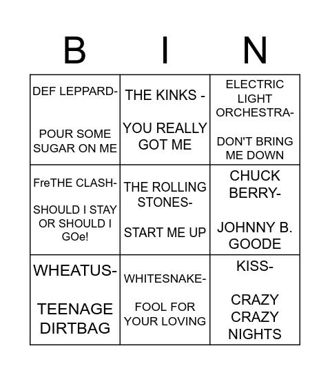 ROCK BINGO MAINA Bingo Card