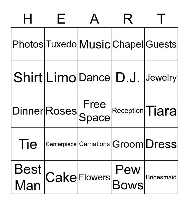 Wedding Shower Bingo Card
