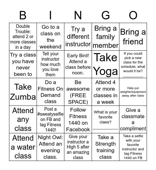 Group Fitness Bingo! Bingo Card