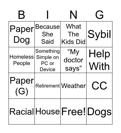 BLUH Bingo Card