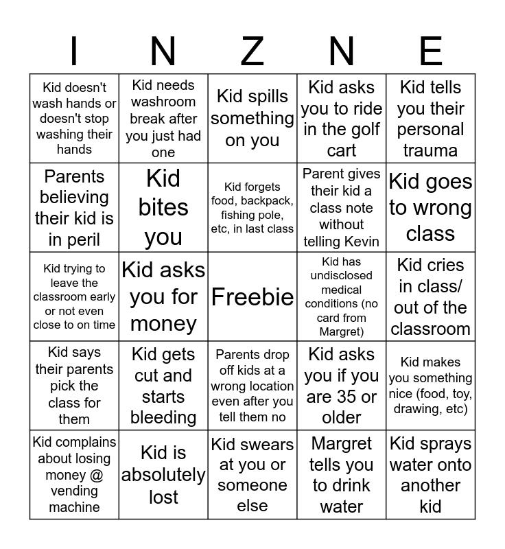 InZone Kid Bingo Card