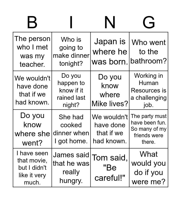 English 125 Bingo Card