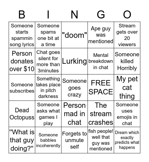 H.PLlovecraft- twitch edition Bingo Card