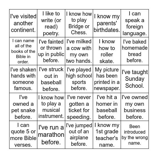 Life Experiences Bingo Card