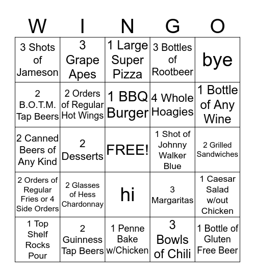 Carbone's Wingo Bingo Card
