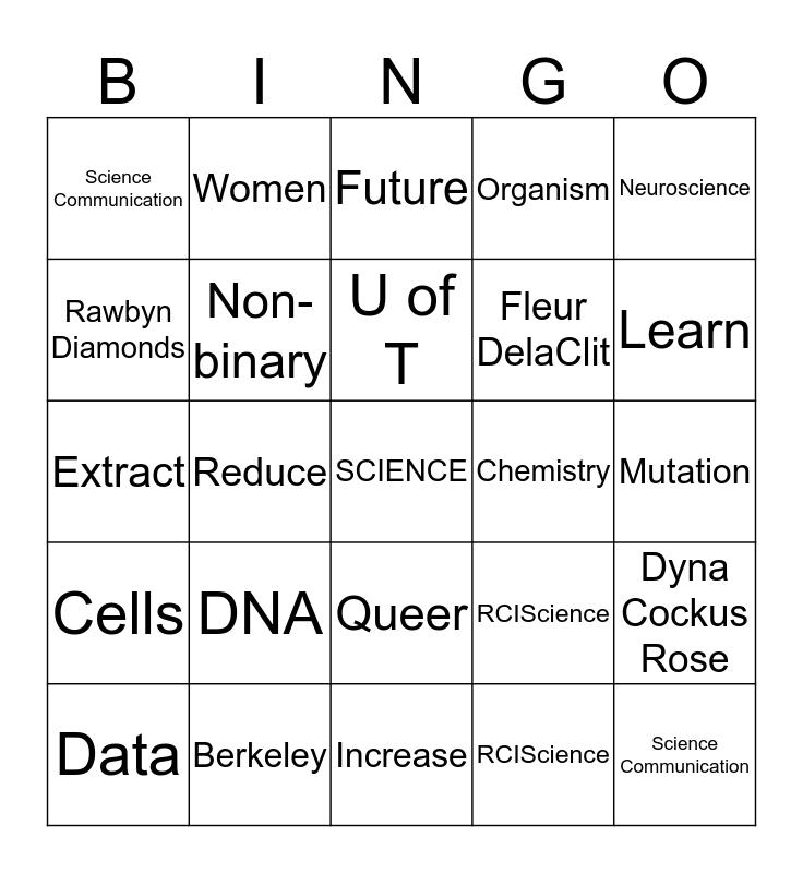 #ScienceIsADrag! Bingo Card