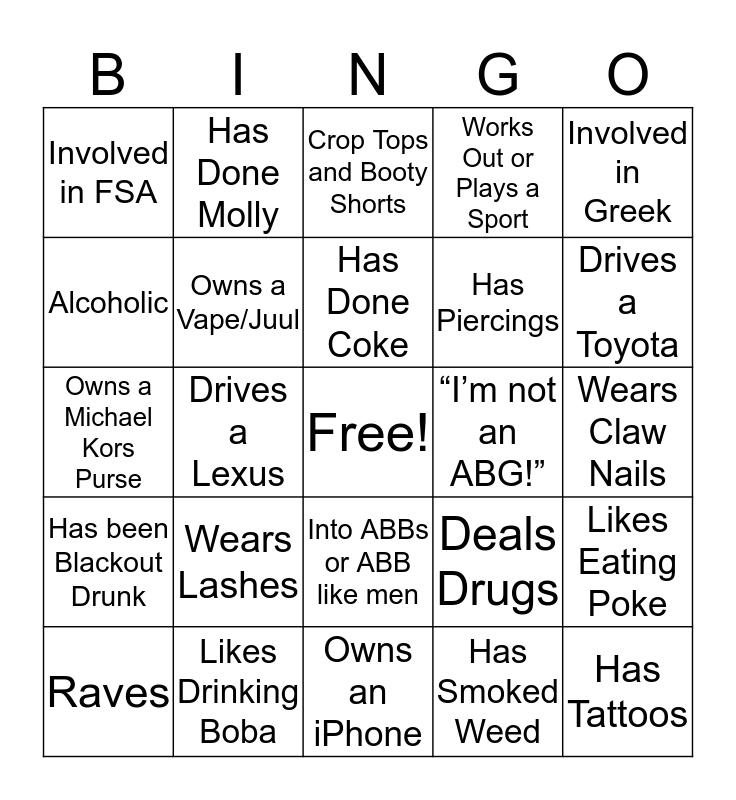 ABG Bingo Card