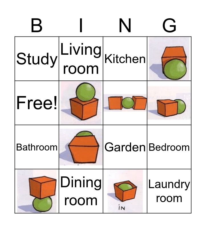 Rooms of the house Bingo Card
