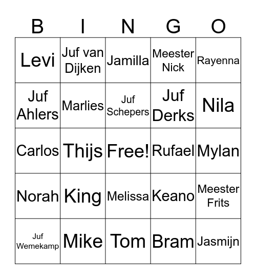 Namen Bingo Card