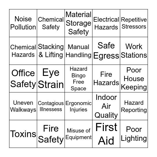 International Paper Hazard Safety Bingo  Bingo Card