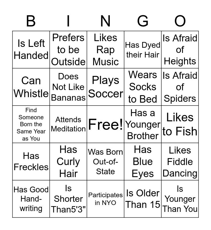 Ice Breaker Bingo  Bingo Card