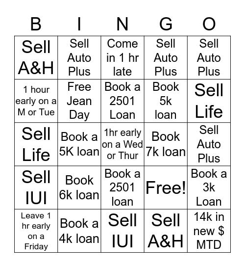 Week 2 July 8th thru July 12th Bingo Card