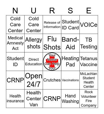 Student Health Services BINGO Card