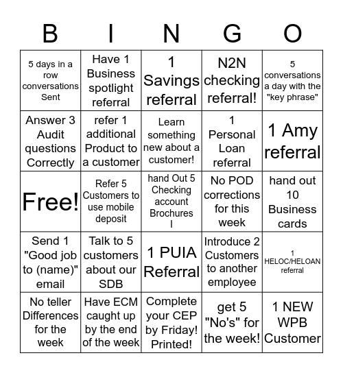 WEEEEK TWOO Bingo Card