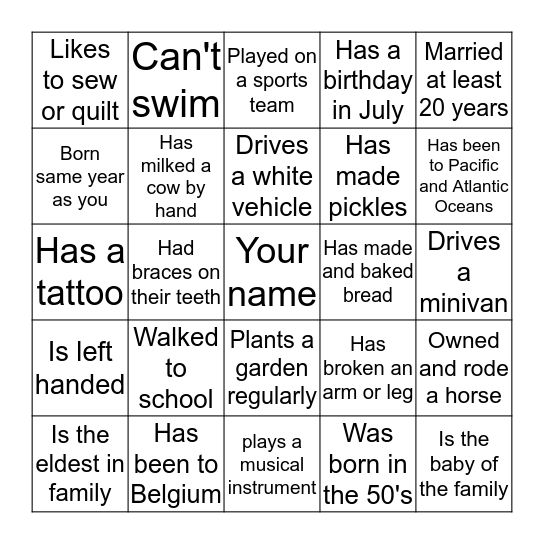Find 25 different people who..and get their initials Bingo Card