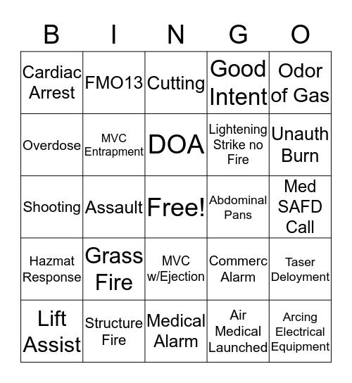 BCFA Bingo Card