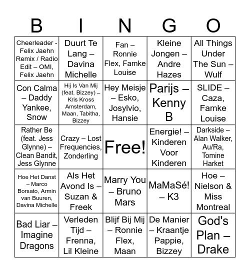 Panasj Muziek Bingo Card
