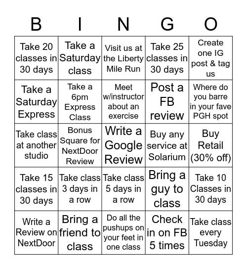 Summer Bar Bingo Card