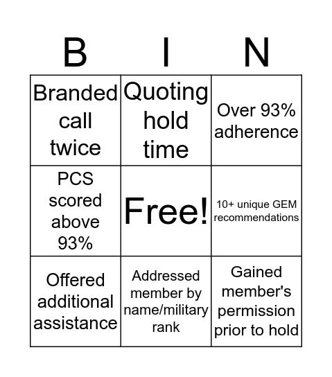 Account Services Bingo! Bingo Card