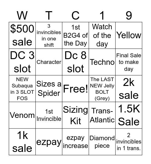 INVICTA Bingo Card