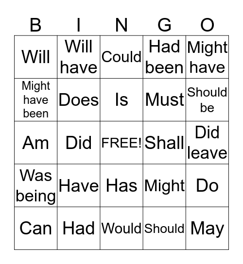 Helping Verb Bingo Card