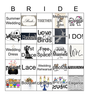 Bridal Bingo Card