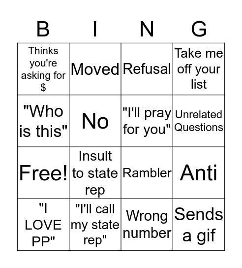 Hustle Bingo Card