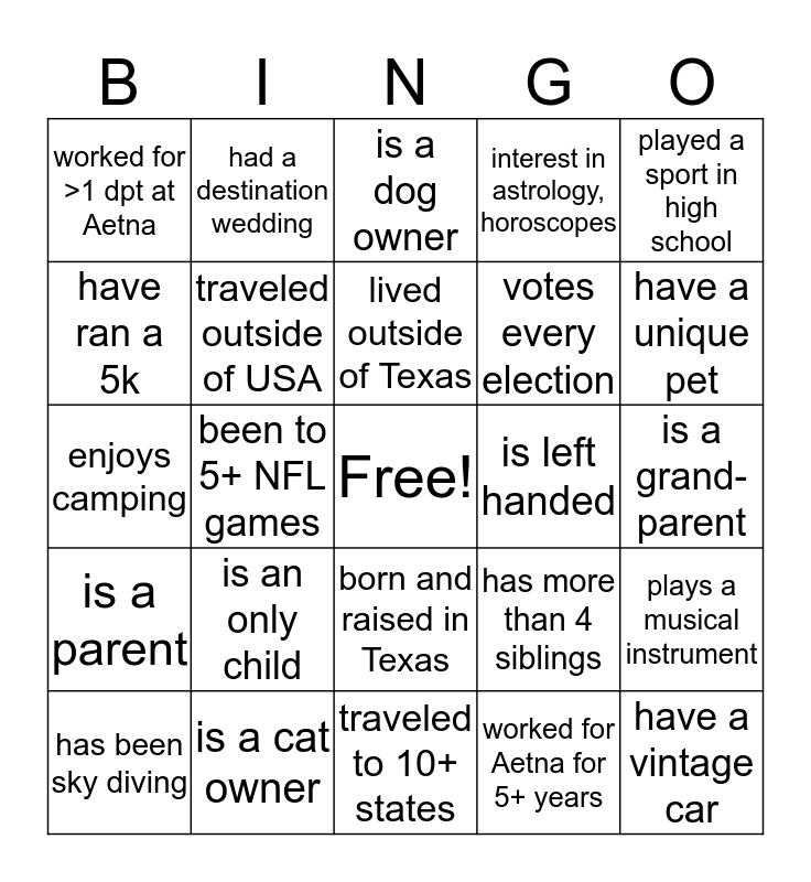 Department Meet and Greet Bingo Card