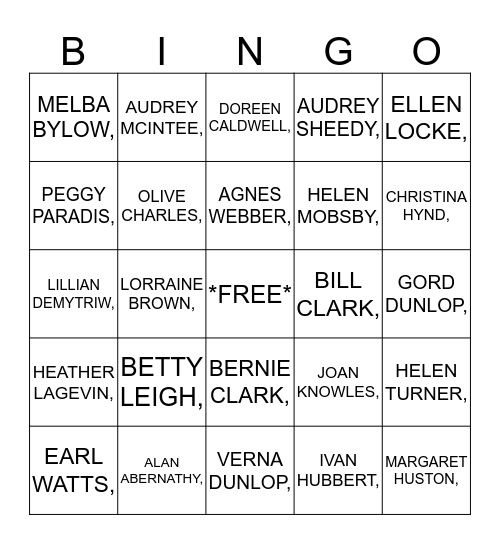 Guess The Resident Bingo Card