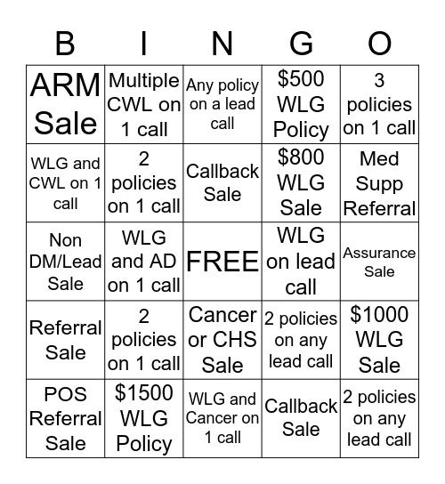 DSC Bingo Card