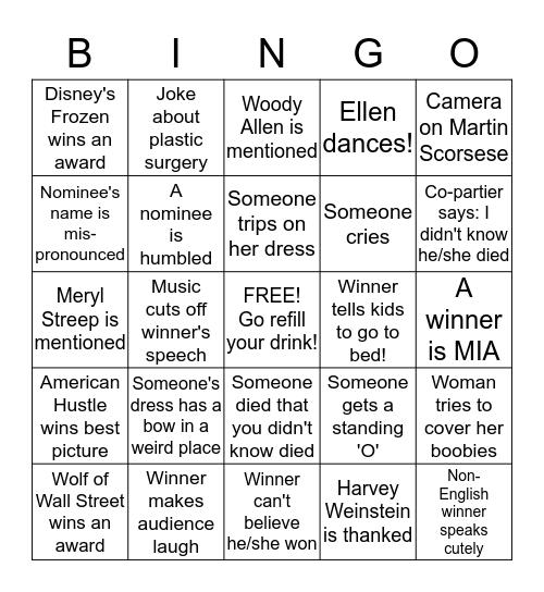 Oscar Bingo Card