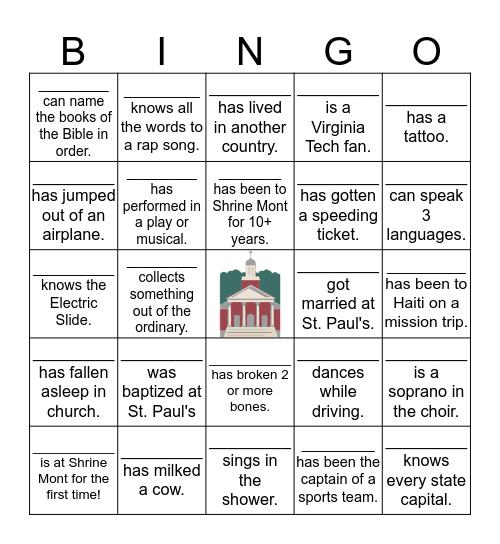 St. Paul's Bingo Card
