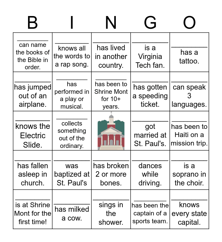 St. Paul's Bingo Card