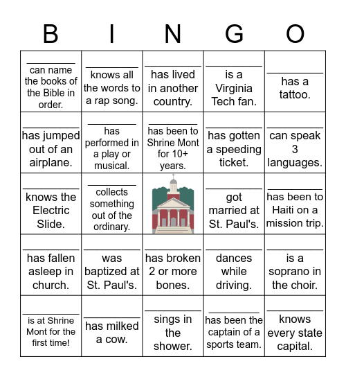 St. Paul's Shrine Mont Weekend Bingo Card