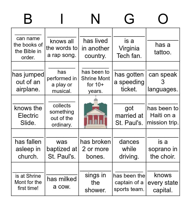 St. Paul's Shrine Mont Weekend Bingo Card