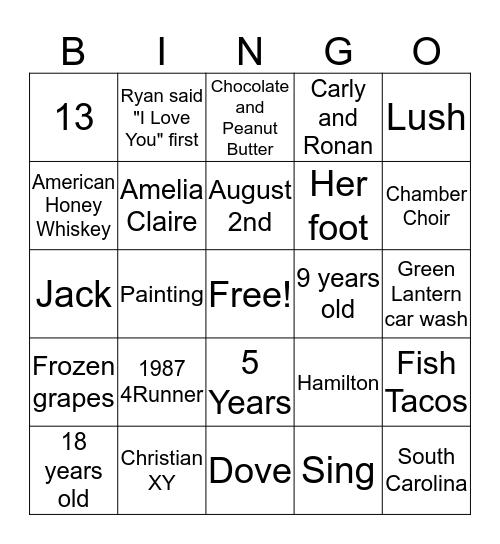 Lia's Bridal Bingo Card