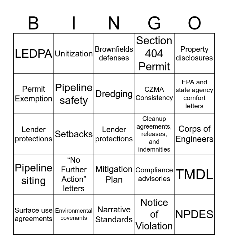 Enviro-Bingo Card