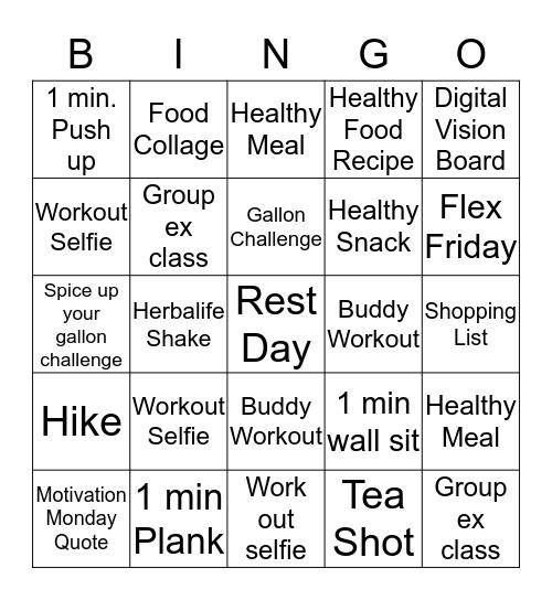 TRANSFORMATION Bingo Card