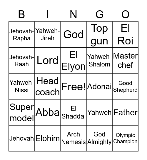 Names of God Bingo Card