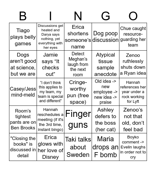Embark Offsite 2019 Bingo Card
