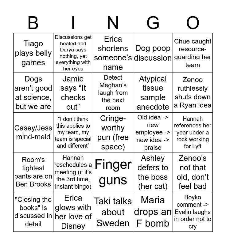 Embark Offsite 2019 Bingo Card