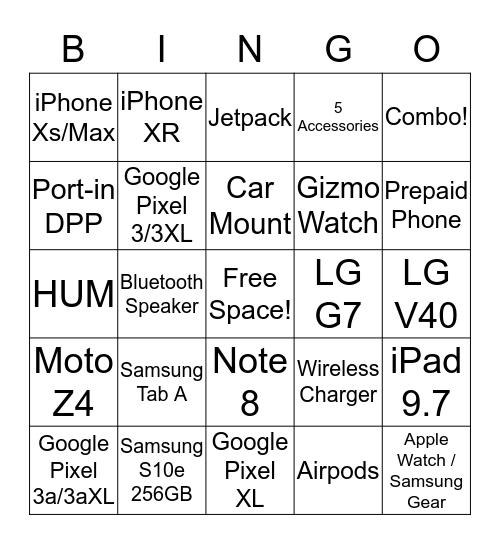 Cellular Sales BINGO Card