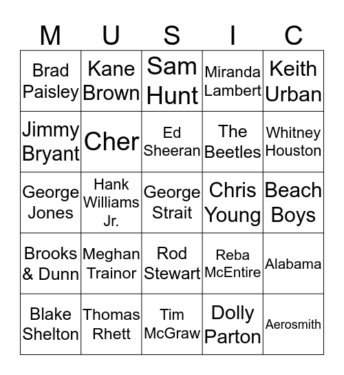 Favorite Singers Bingo Card