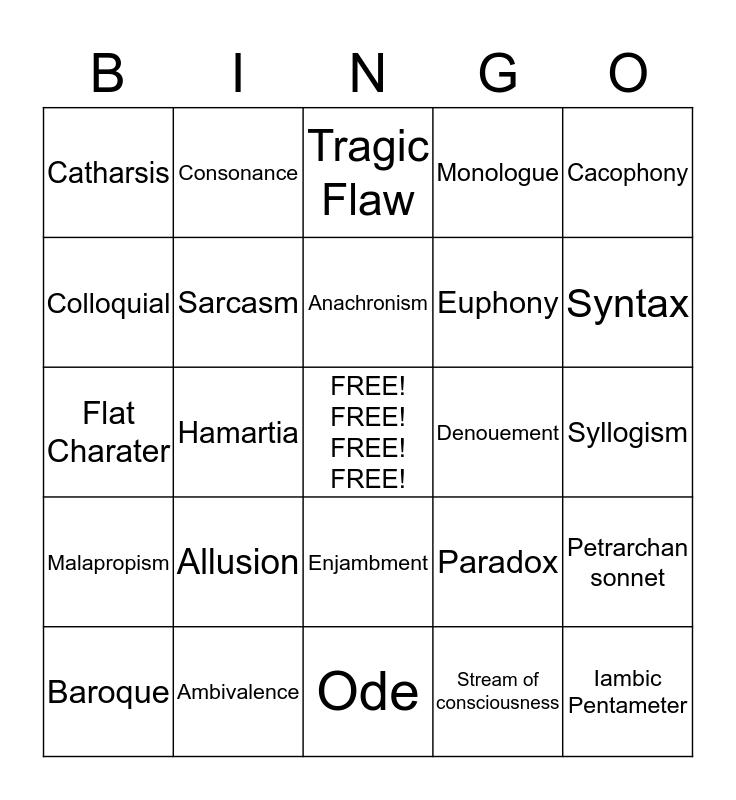 Bingo Lit Bingo Card