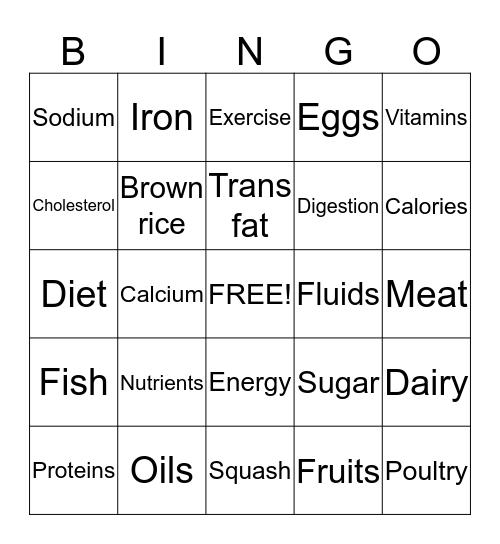Nutrition Bingo Card
