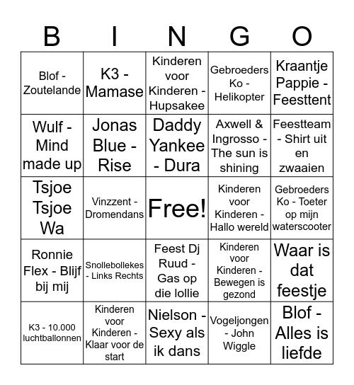 Liedjes bingo  Bingo Card