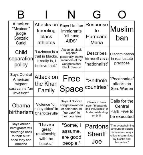 Trump Racism Bingo Card