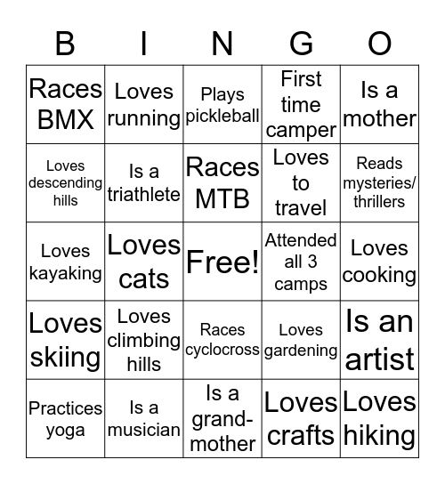 Summer Camp Get to Know You Bingo Card