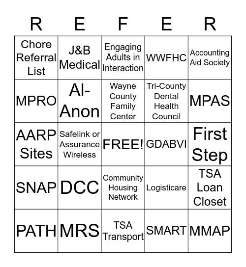Referral Bingo Basics Bingo Card